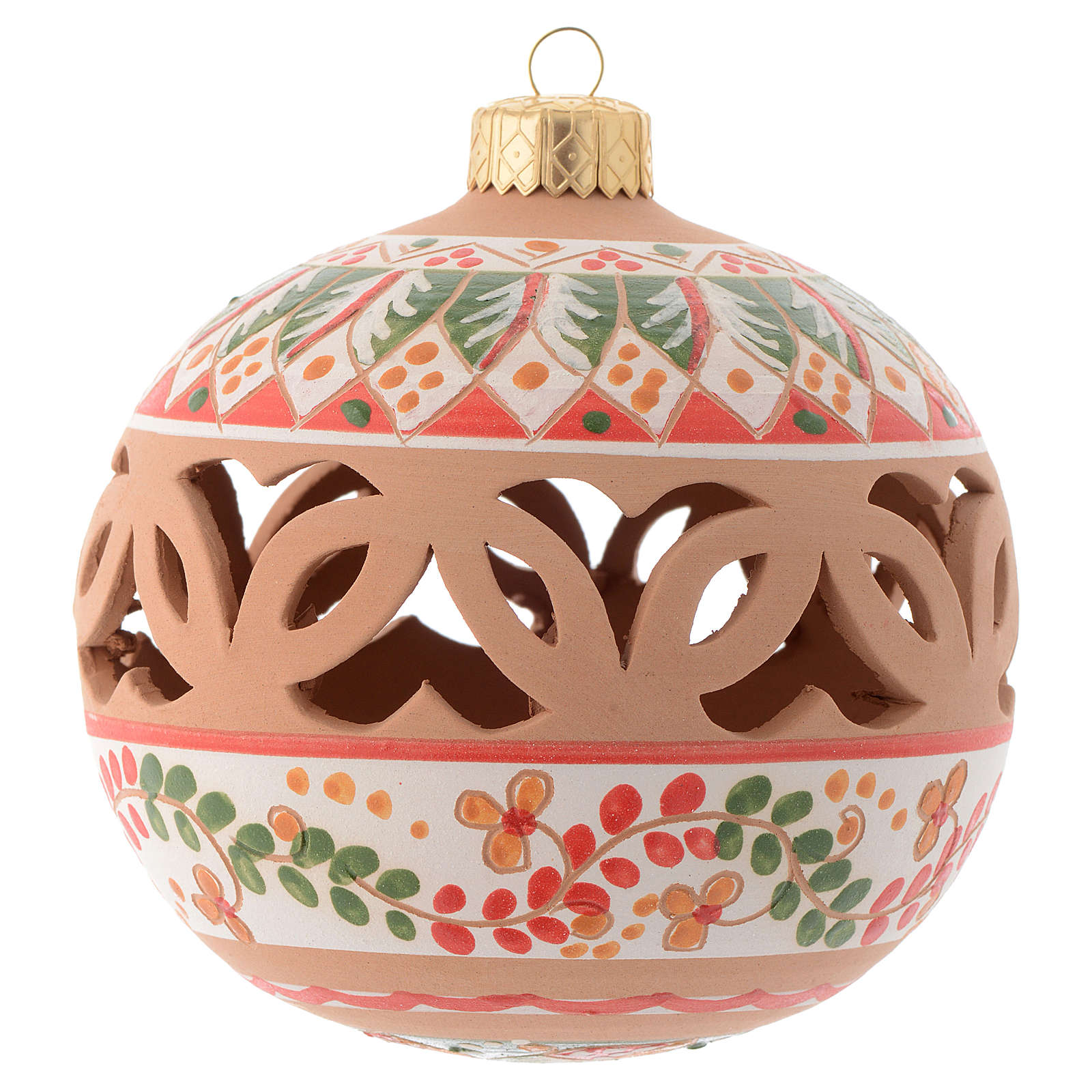 Red Christmas tree ball in terracotta from Deruta 100 mm 4