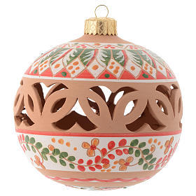 Red Christmas tree ball in terracotta from Deruta 100 mm s1