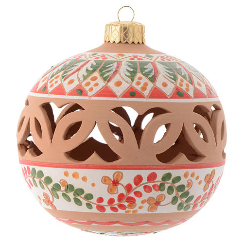Red Christmas tree ball in terracotta from Deruta 100 mm 1