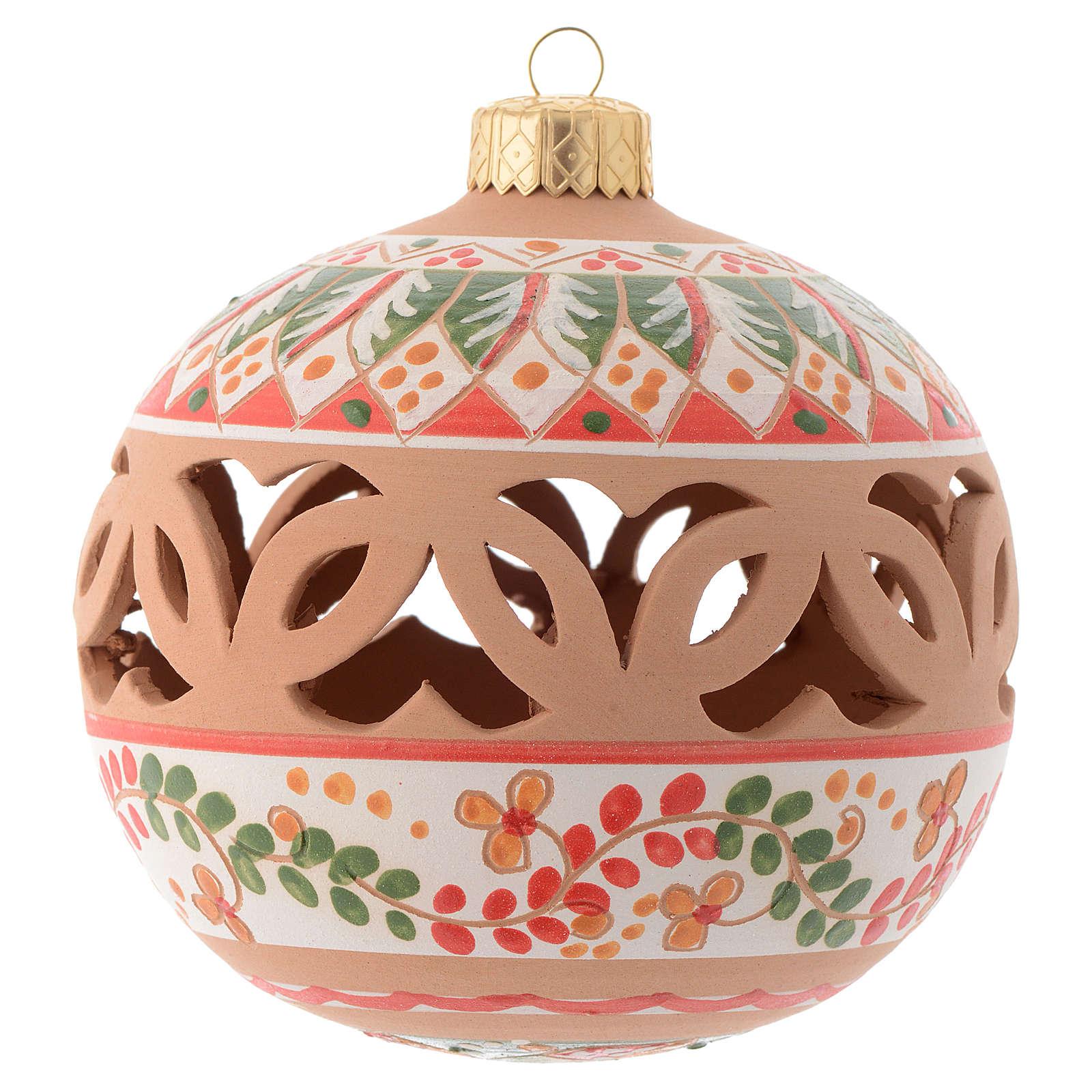 Palla per l'albero di Natale rossa terracotta Deruta 100 mm 4