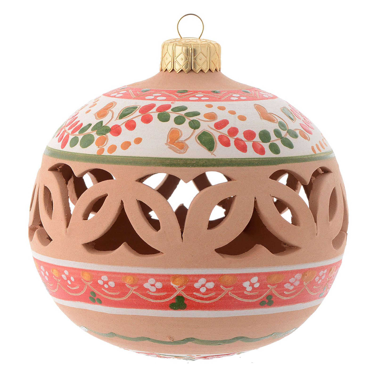 Drilled Christmas tree ball in terracotta 100 mm 4