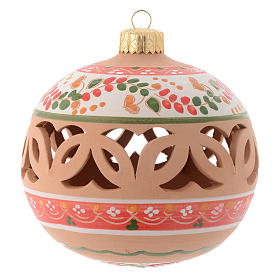 Drilled Christmas tree ball in terracotta 100 mm s1