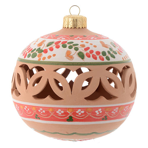 Drilled Christmas tree ball in terracotta 100 mm 1