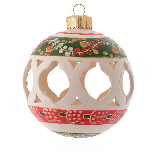 Drilled Christmas bauble in terracotta from Deruta 80 cm green 1
