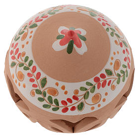 Drilled Christmas ball in terracotta from Deruta 80 cm red s2
