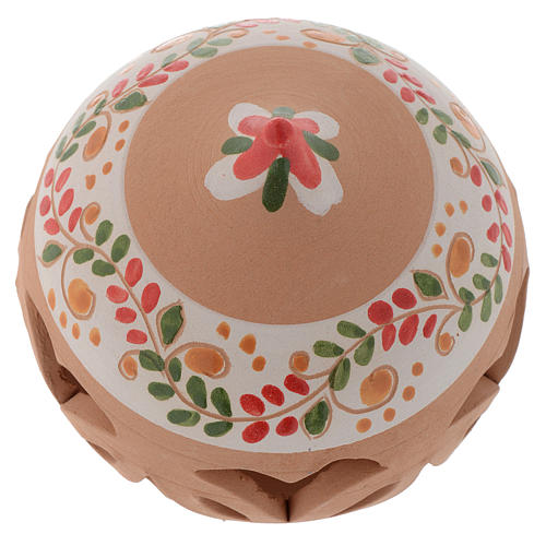 Drilled Christmas ball in terracotta from Deruta 80 cm red 2