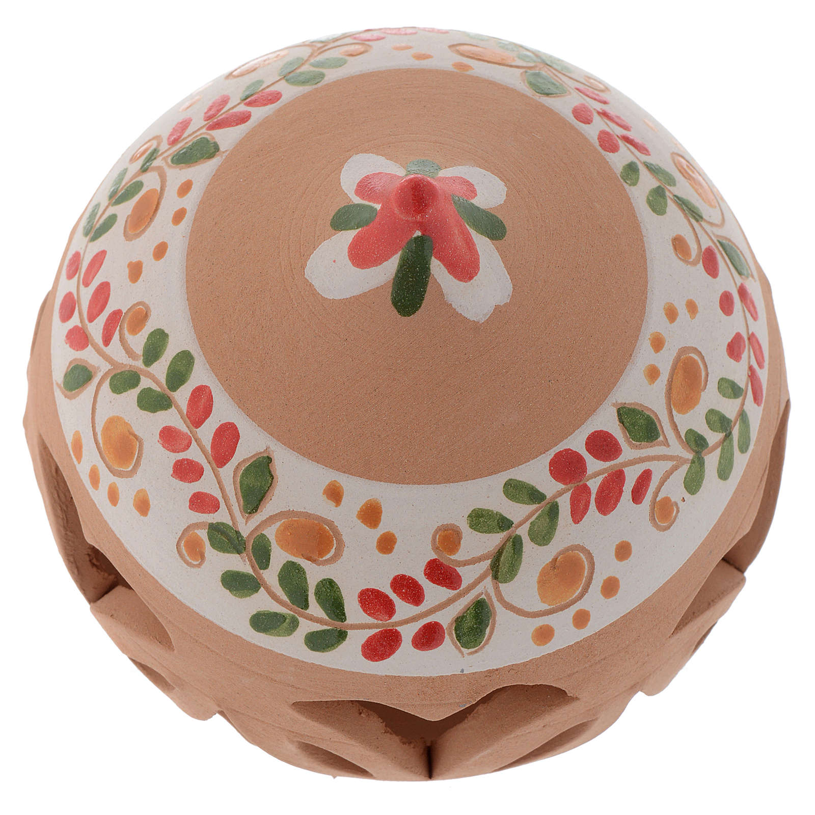 Drilled Christmas ball in terracotta from Deruta 80 cm red 4