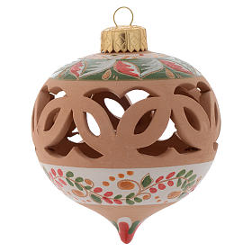 Drilled Christmas ball in terracotta from Deruta 80 cm red s1