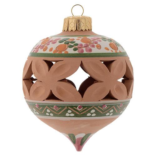 Bola con punta de Navidad 80 mm rosa 1