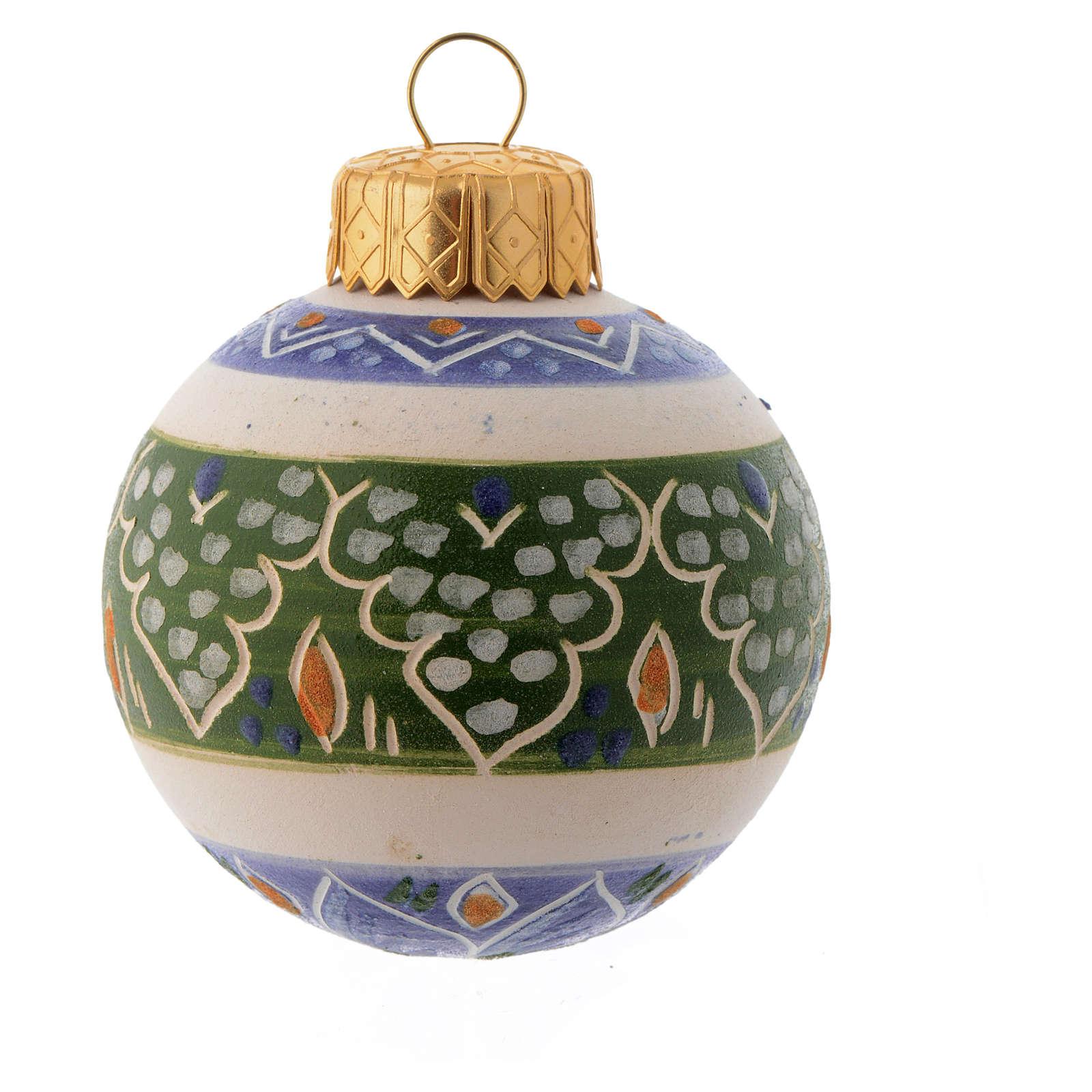 Pallina Albero Natale blu in terracotta 50 mm 4