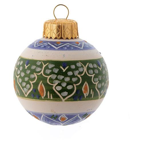 Pallina Albero Natale blu in terracotta 50 mm 1
