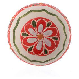Palla in terracotta per natale 50 mm decori rossi s2