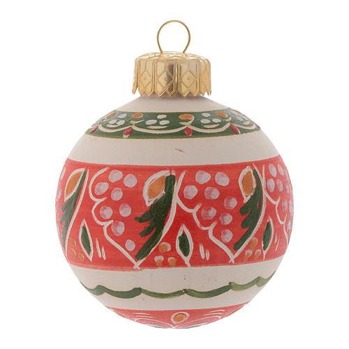Pallina con fasce decorate 60 mm rosso 1