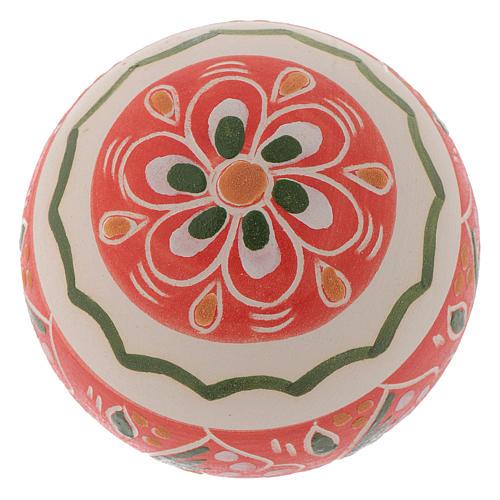 Pallina con fasce decorate 60 mm rosso 2