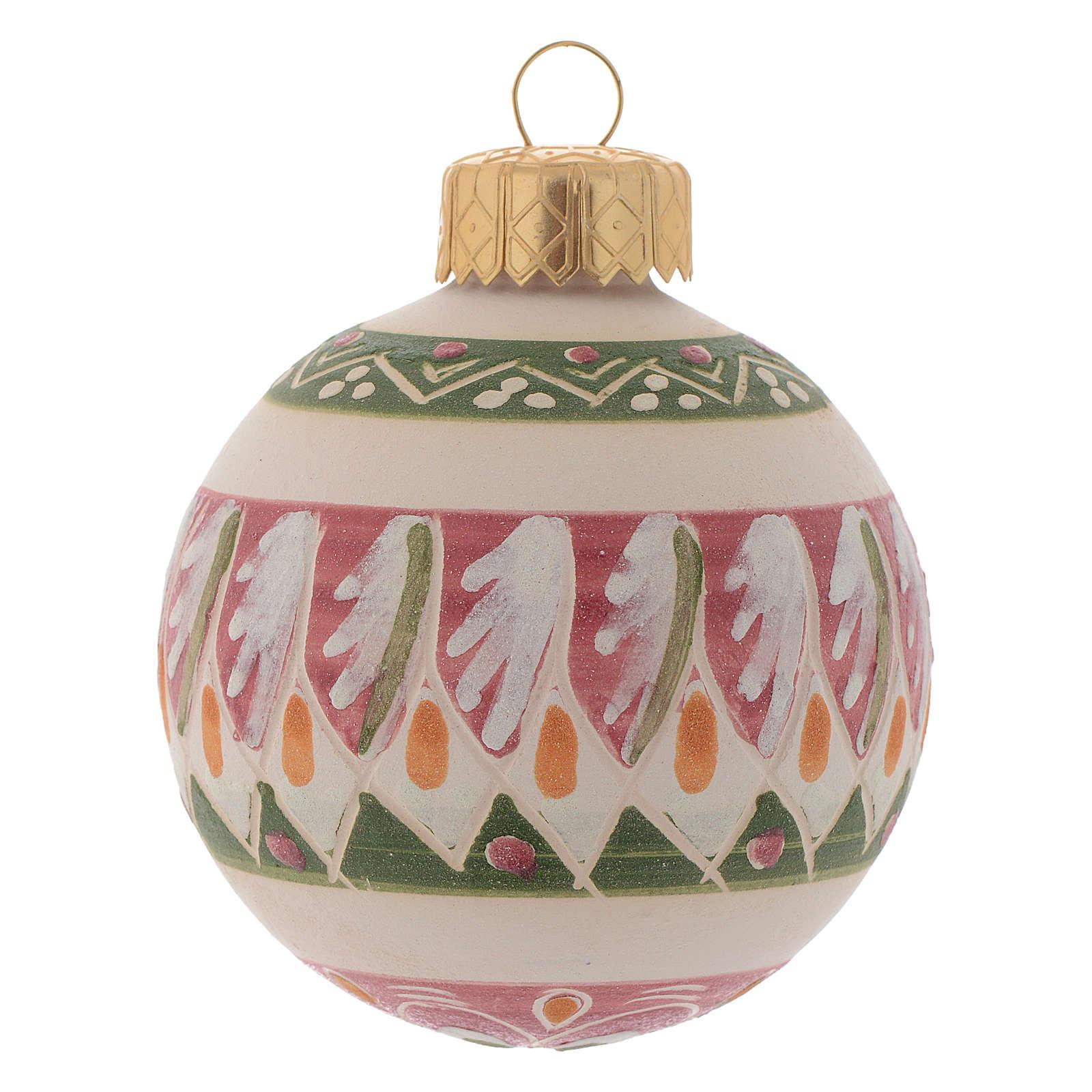 Palla di Natale in terracotta 60 mm rosa antico 4