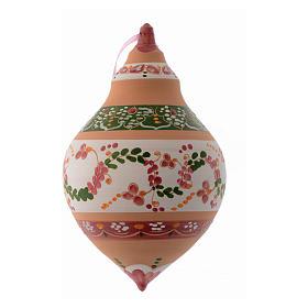 Pallina a due punte in terracotta 150 mm decoro rosa antico s1
