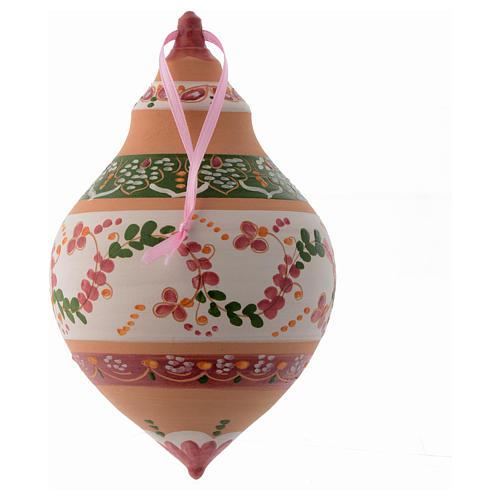 Pallina a due punte in terracotta 150 mm decoro rosa antico 2