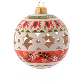 Country style Christmas bauble 100 mm with red decoration s1