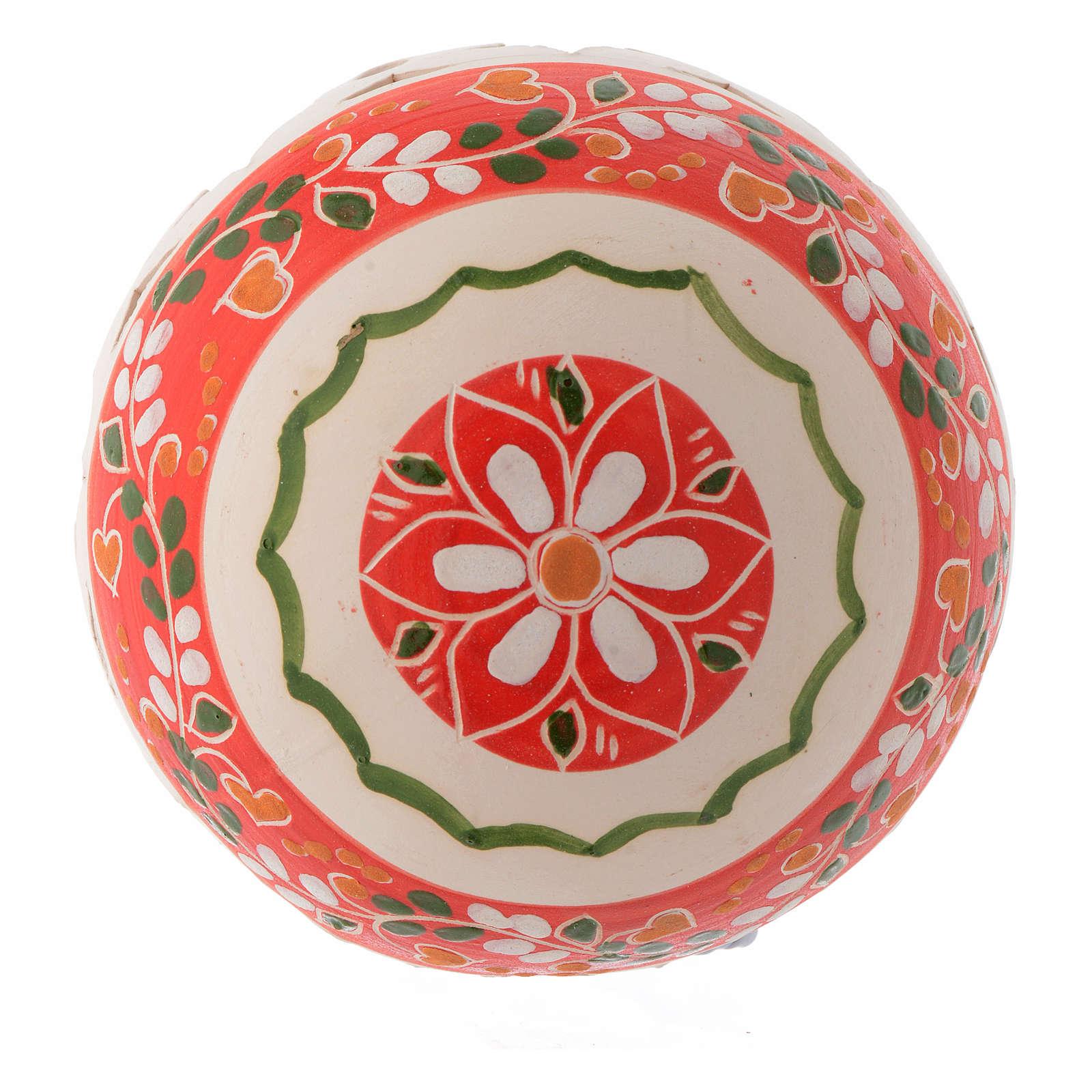 Bola estilo country de Navidad 100 mm decoración roja 4