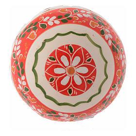 Bola estilo country de Navidad 100 mm decoración roja s2