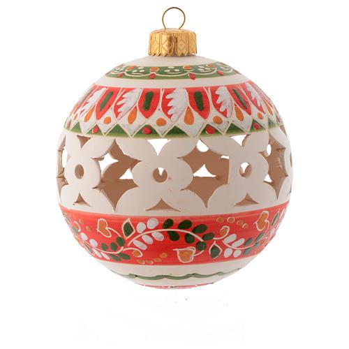 Bola estilo country de Navidad 100 mm decoración roja 1