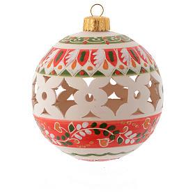 Pallina stile country di Natale 100 mm decoro rosso s1