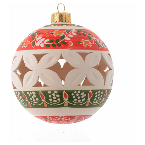 Country style drilled Christmas bauble in terracotta 100 mm 1