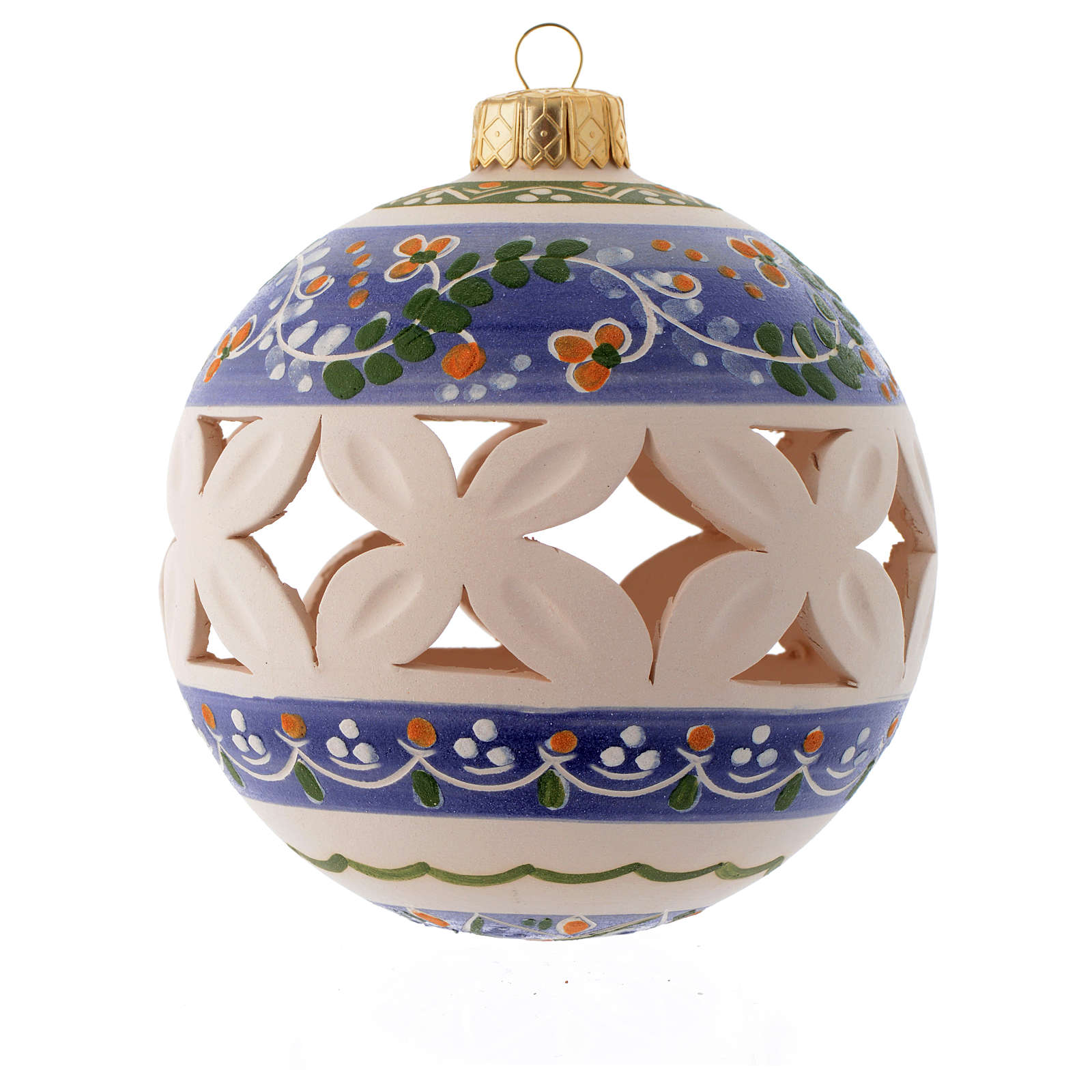 White Christmas bauble with blue decorations sized 100 mm 4