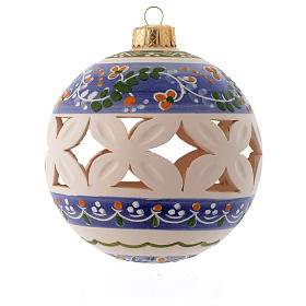 White Christmas bauble with blue decorations sized 100 mm s1
