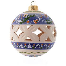 Palla di Natale bianca con decori blu 100 mm s1
