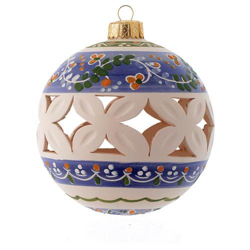 Palla di Natale bianca con decori blu 100 mm 1