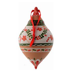 Palla di Natale con due punte terracotta 120 mm s2