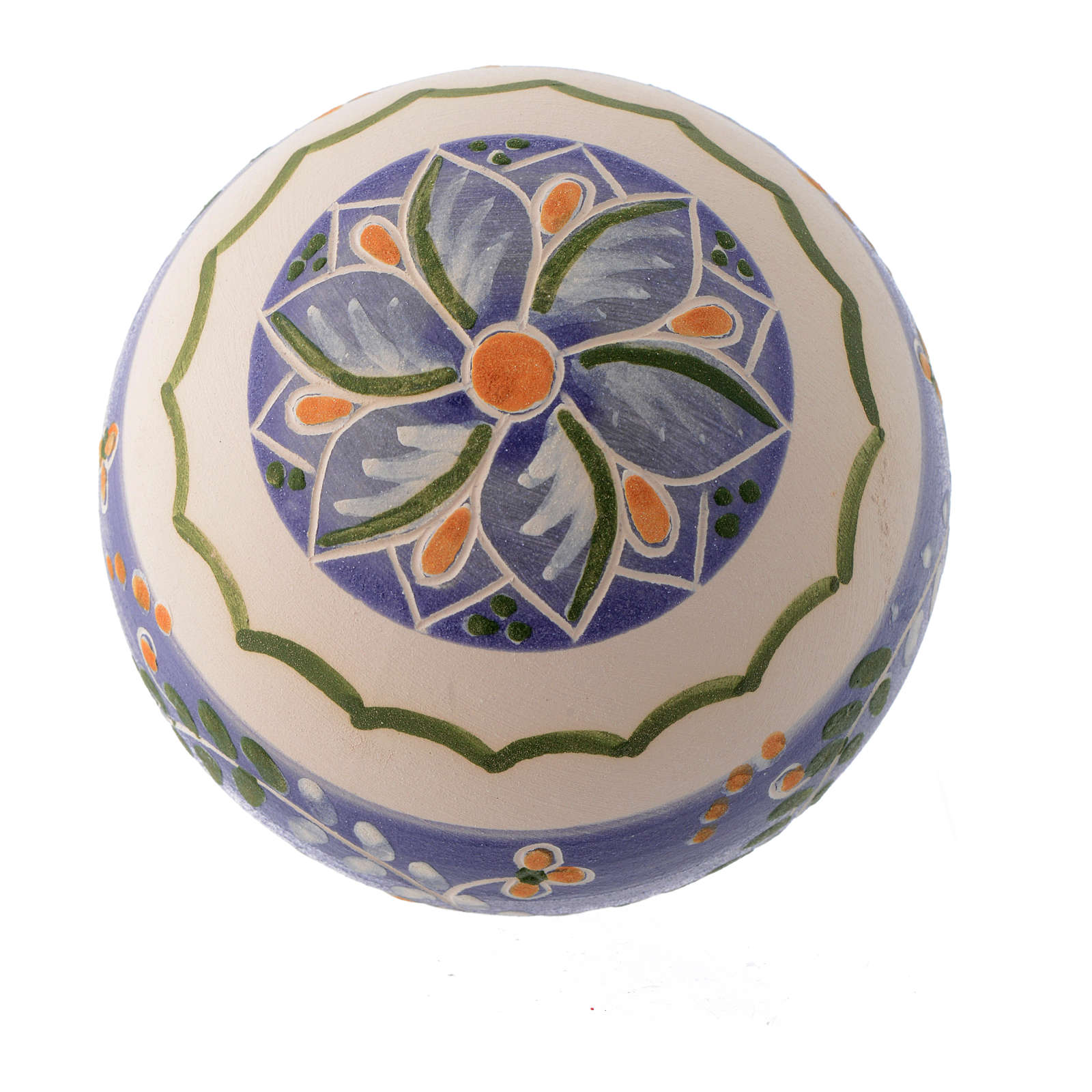 Blue terracotta Christmas bauble with a band in terracotta 80 mm 4