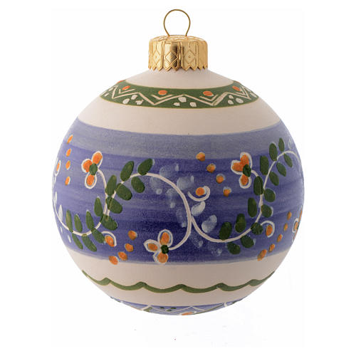 Blue terracotta Christmas bauble with a band in terracotta 80 mm 1