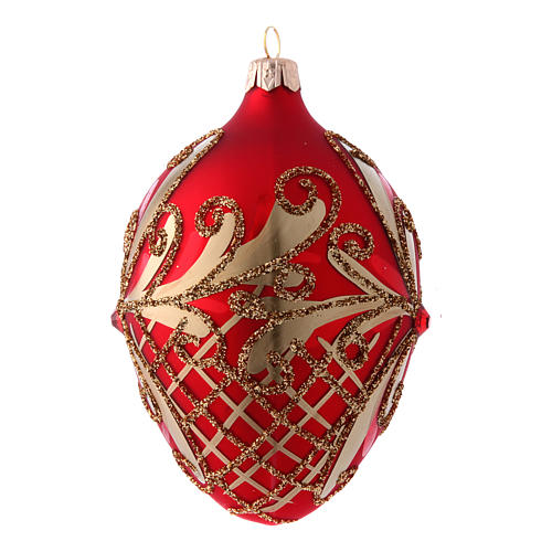 Egg shaped red and gold Christmas tree ball 130 mm 2