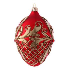Adorno Árbol de Navidad forma huevo vidrio soplado rojo y oro 130 mm s2