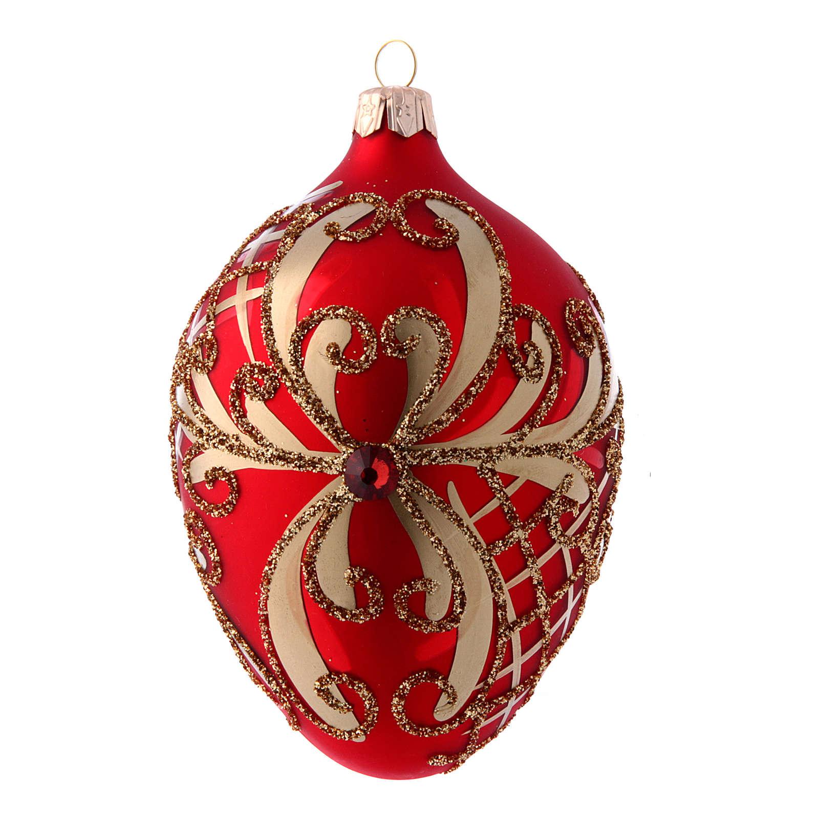 Palla albero Natale uovo vetro soffiato rosso e oro 130 mm 4