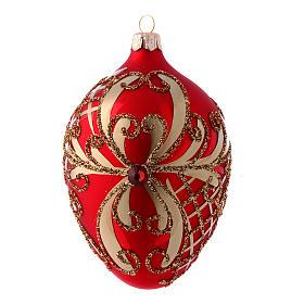 Palla albero Natale uovo vetro soffiato rosso e oro 130 mm s1
