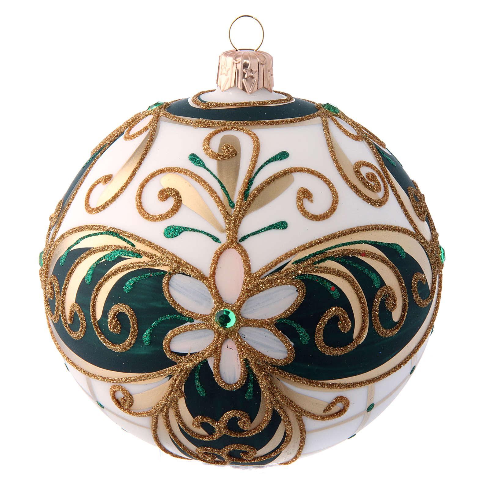 Palla natalizia 100 mm vetro soffiato verde bianco e oro 4