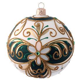 Palla natalizia 100 mm vetro soffiato verde bianco e oro s1