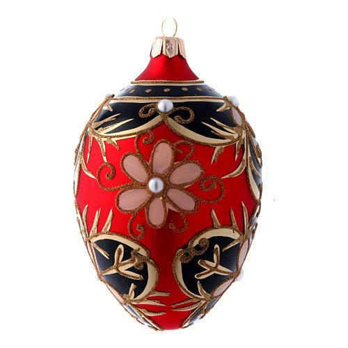Adorno Árbol de Navidad forma huevo vidrio soplado oro, negro, rojo 130 mm 1