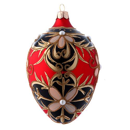 Adorno Árbol de Navidad forma huevo vidrio soplado oro, negro, rojo 130 mm 2