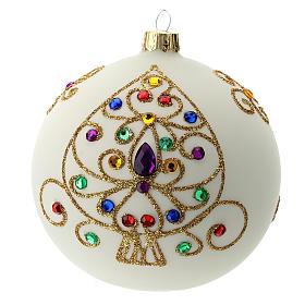 Tannenbaumkugeln: Weihnachtsbaumkugel aus mundgeblasenem Glas Grundton Weiß mit goldenen Verzierungen 100 mm