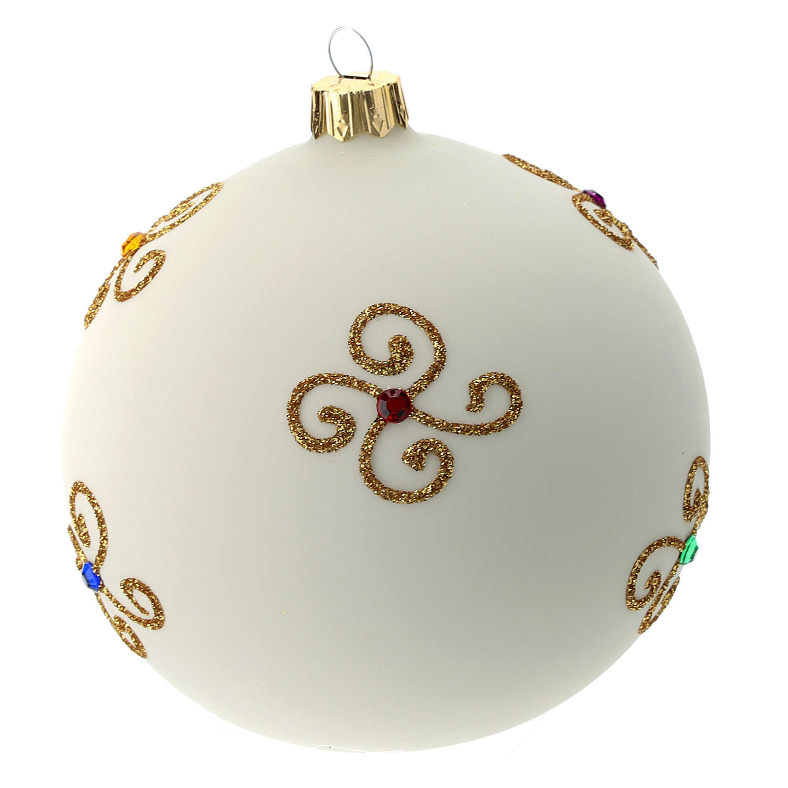 White Christmas ball in blown glass and golden decorations sized 100 mm 4