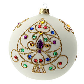 White Christmas ball in blown glass and golden decorations sized 100 mm s1