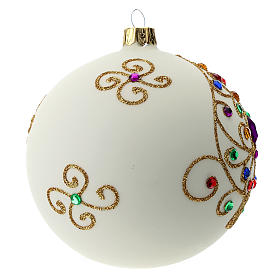 White Christmas ball in blown glass and golden decorations sized 100 mm s3