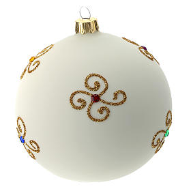 White Christmas ball in blown glass and golden decorations sized 100 mm s4