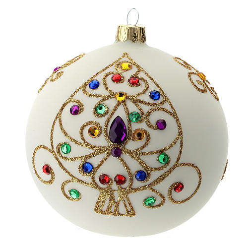 White Christmas ball in blown glass and golden decorations sized 100 mm 1