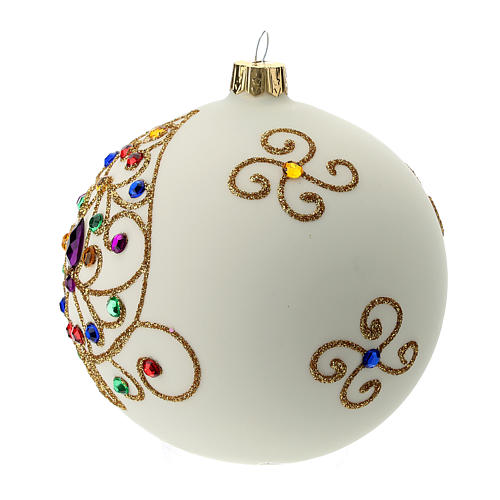 White Christmas ball in blown glass and golden decorations sized 100 mm 2