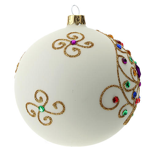White Christmas ball in blown glass and golden decorations sized 100 mm 3